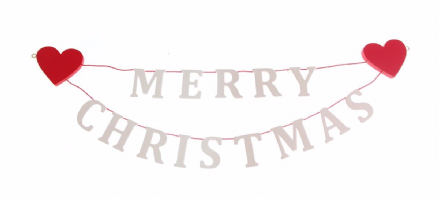 White Merry Christmas Garland